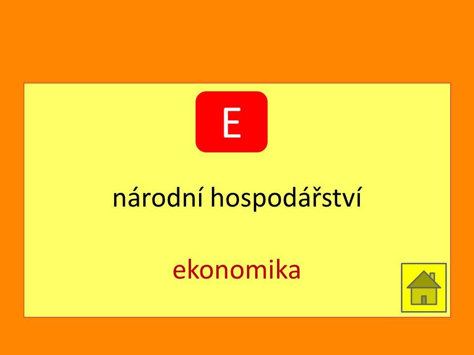 národní hospodářství ekonomika E
