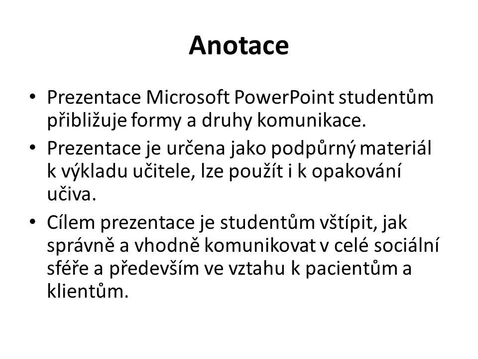 Anotace Prezentace Microsoft PowerPoint studentům přibližuje formy a druhy komunikace. Prezentace je určena jako podpůrný materiál k výkladu učitele,