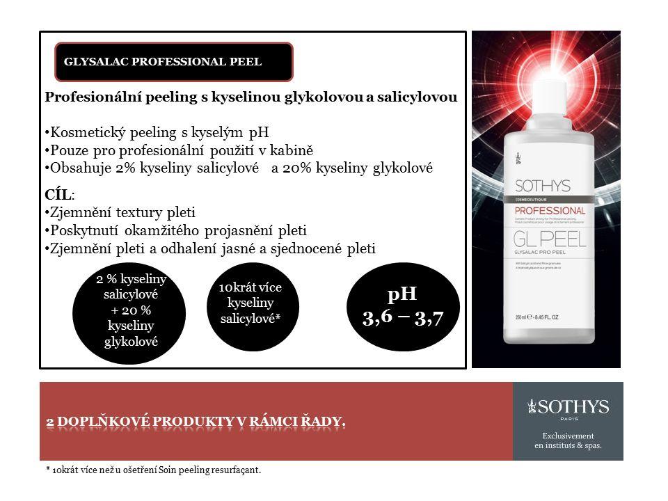 2 % kyseliny salicylové + 20 % kyseliny glykolové GLYSALAC PROFESSIONAL PEEL Profesionální peeling s kyselinou glykolovou a salicylovou Kosmetický peeling s kyselým pH Pouze pro profesionální použití v kabině Obsahuje 2% kyseliny salicylové a 20% kyseliny glykolové CÍL: Zjemnění textury pleti Poskytnutí okamžitého projasnění pleti Zjemnění pleti a odhalení jasné a sjednocené pleti 10krát více kyseliny salicylové* pH 3,6 – 3,7 * 10krát více než u ošetření Soin peeling resurfaçant.