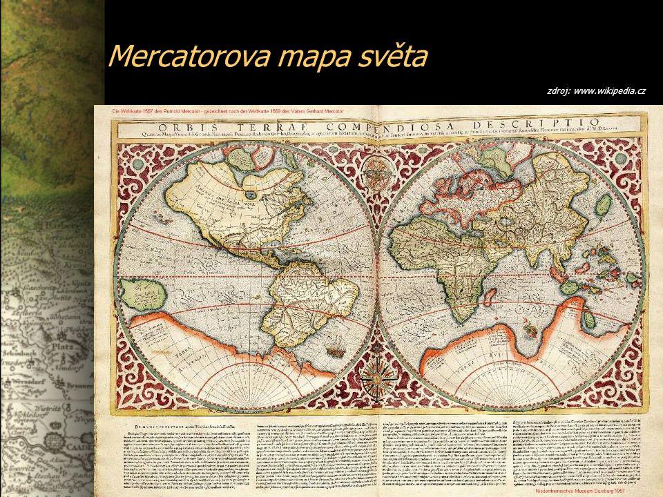 Mercatorova mapa světa zdroj: www.wikipedia.cz