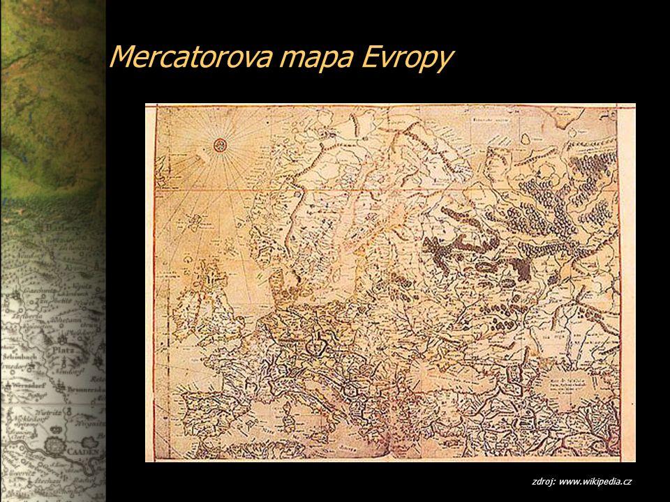Mercatorova mapa Evropy zdroj: www.wikipedia.cz