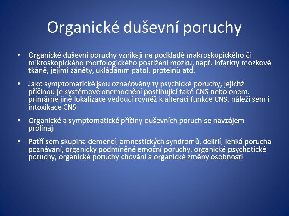 Organické duševní poruchy Organické duševní poruchy vznikají na podkladě makroskopického či mikroskopického morfologického postižení mozku, např.