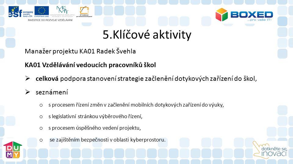 5.Klíčové aktivity Manažer projektu KA01 Radek Švehla KA01 Vzdělávání vedoucích pracovníků škol  celková podpora stanovení strategie začlenění dotyko