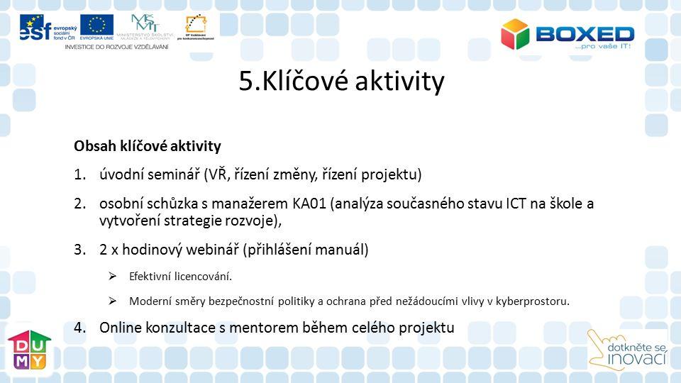 5.Klíčové aktivity Obsah klíčové aktivity 1.úvodní seminář (VŘ, řízení změny, řízení projektu) 2.osobní schůzka s manažerem KA01 (analýza současného s