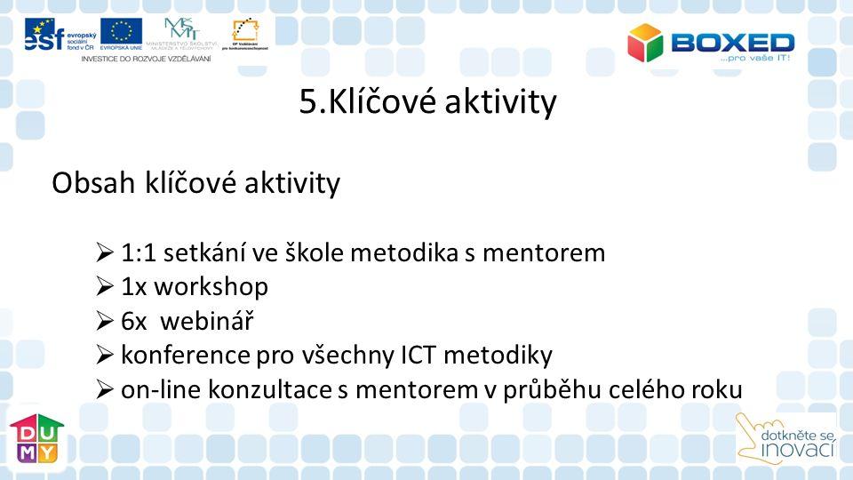 5.Klíčové aktivity Obsah klíčové aktivity  1:1 setkání ve škole metodika s mentorem  1x workshop  6x webinář  konference pro všechny ICT metodiky