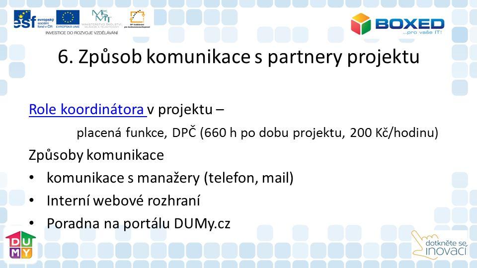 6. Způsob komunikace s partnery projektu Role koordinátora Role koordinátora v projektu – placená funkce, DPČ (660 h po dobu projektu, 200 Kč/hodinu)