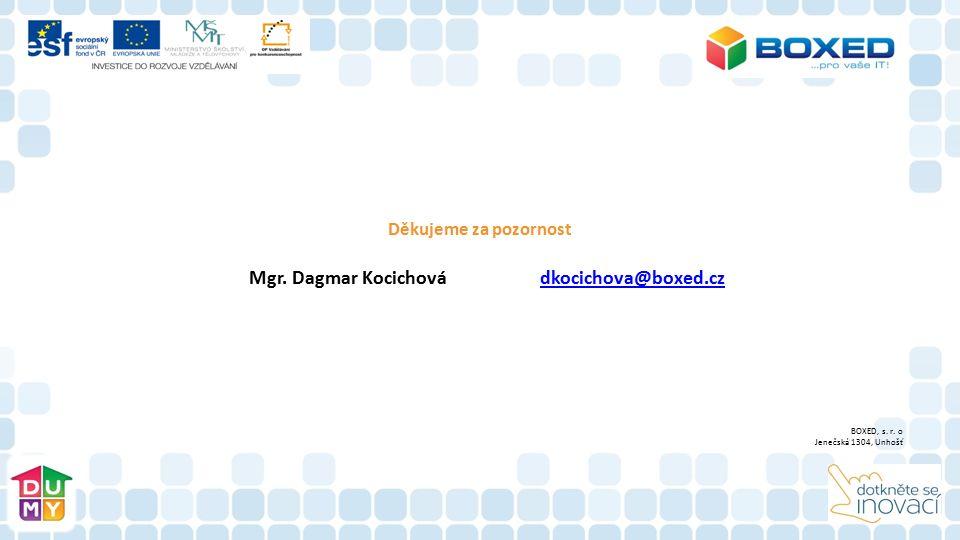 Děkujeme za pozornost Mgr. Dagmar Kocichová dkocichova@boxed.czdkocichova@boxed.cz BOXED, s. r. o Jenečská 1304, Unhošť