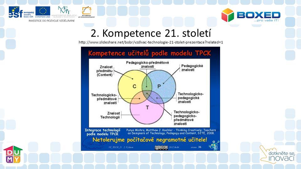2. Kompetence 21. století http://www.slideshare.net/bobr/vzdlvac-technologie-21-stolet-prezentace?related=1
