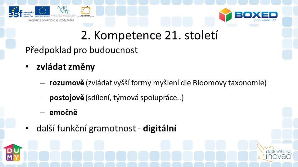 2. Kompetence 21. století Předpoklad pro budoucnost zvládat změny – rozumově (zvládat vyšší formy myšlení dle Bloomovy taxonomie) – postojově (sdílení