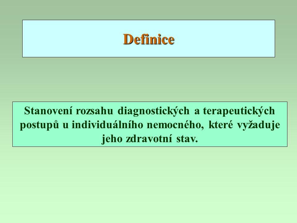 Definice Stanovení rozsahu diagnostických a terapeutických postupů u individuálního nemocného, které vyžaduje jeho zdravotní stav.