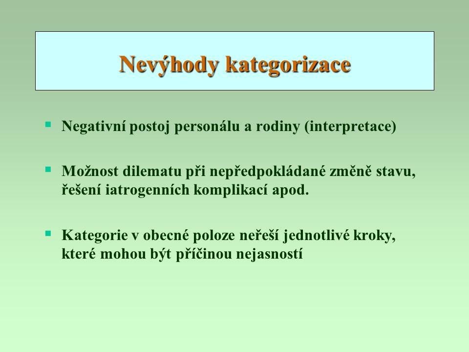 Nevýhody kategorizace  Negativní postoj personálu a rodiny (interpretace)  Možnost dilematu při nepředpokládané změně stavu, řešení iatrogenních kom