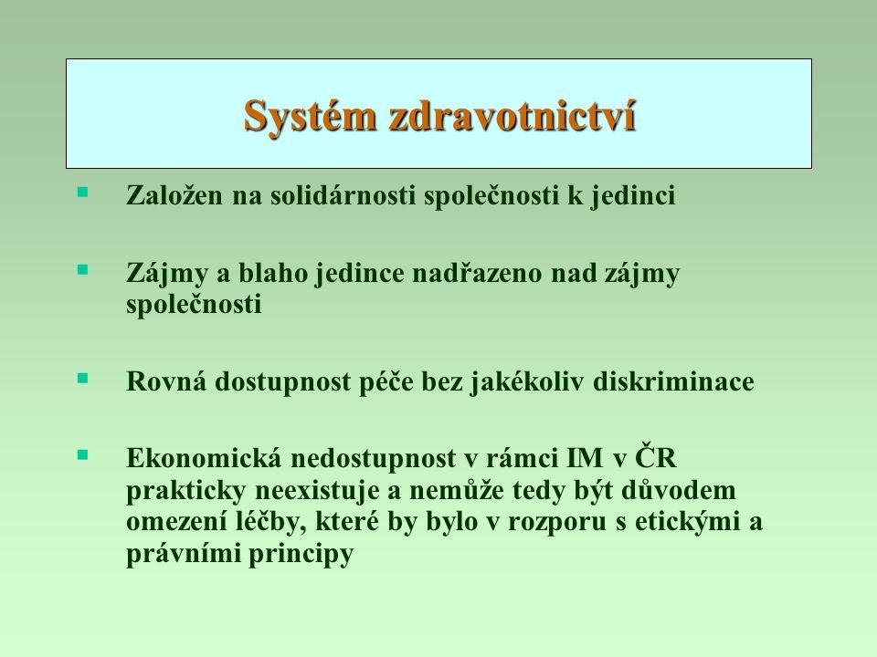 Systém zdravotnictví  Založen na solidárnosti společnosti k jedinci  Zájmy a blaho jedince nadřazeno nad zájmy společnosti  Rovná dostupnost péče b
