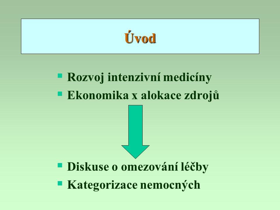 Úvod  Rozvoj intenzivní medicíny  Ekonomika x alokace zdrojů  Diskuse o omezování léčby  Kategorizace nemocných