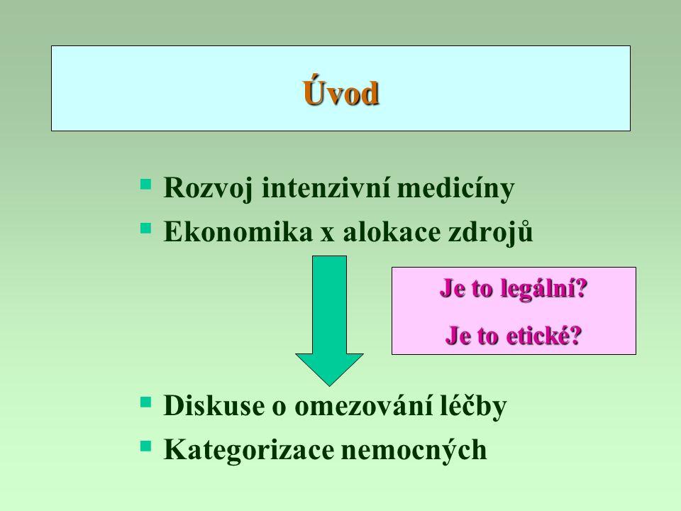 Úvod  Rozvoj intenzivní medicíny  Ekonomika x alokace zdrojů  Diskuse o omezování léčby  Kategorizace nemocných Je to legální? Je to etické?