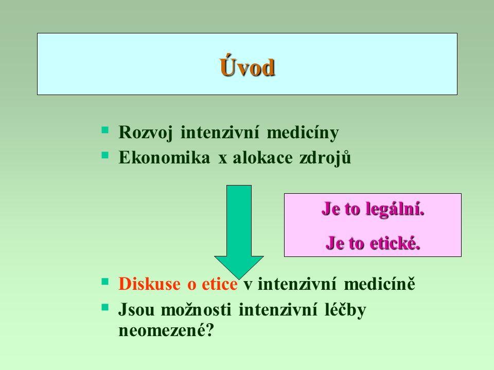 Úvod  Rozvoj intenzivní medicíny  Ekonomika x alokace zdrojů  Diskuse o etice v intenzivní medicíně  Jsou možnosti intenzivní léčby neomezené? Je