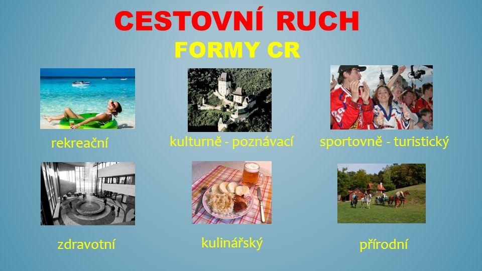 CESTOVNÍ RUCH FORMY CR rekreační kulturně - poznávacísportovně - turistický zdravotnípřírodní kulinářský