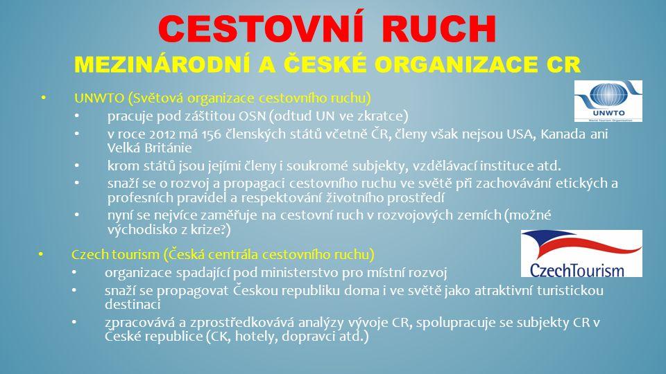 CESTOVNÍ RUCH MEZINÁRODNÍ A ČESKÉ ORGANIZACE CR UNWTO (Světová organizace cestovního ruchu) pracuje pod záštitou OSN (odtud UN ve zkratce) v roce 2012