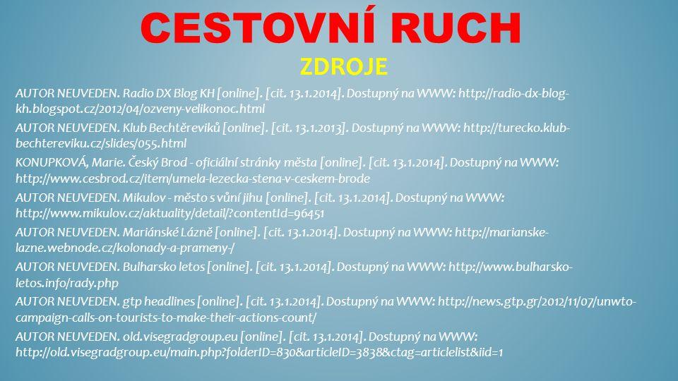 CESTOVNÍ RUCH ZDROJE AUTOR NEUVEDEN. Radio DX Blog KH [online]. [cit. 13.1.2014]. Dostupný na WWW: http://radio-dx-blog- kh.blogspot.cz/2012/04/ozveny