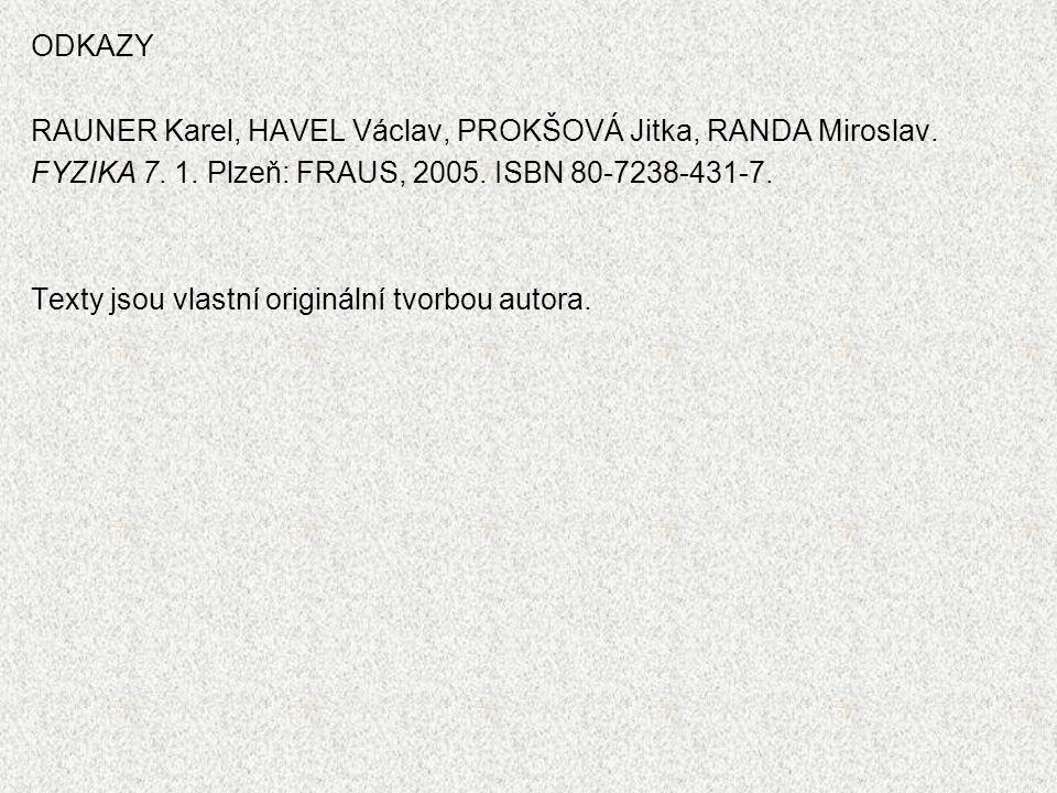 ODKAZY RAUNER Karel, HAVEL Václav, PROKŠOVÁ Jitka, RANDA Miroslav. FYZIKA 7. 1. Plzeň: FRAUS, 2005. ISBN 80-7238-431-7. Texty jsou vlastní originální