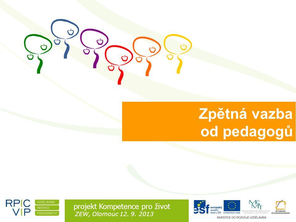 Rozdíl je v lidech projekt Kompetence pro život ZEW, Olomouc 12. 9. 2013 Zpětná vazba od pedagogů