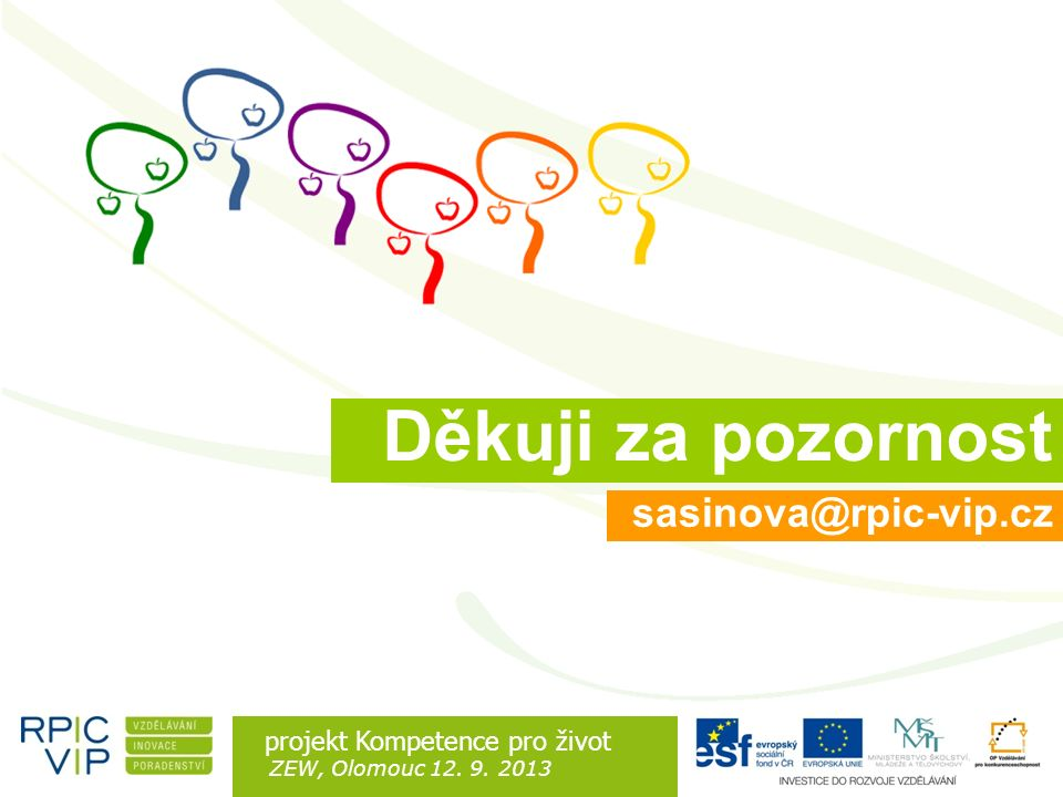 Rozdíl je v lidech projekt Kompetence pro život ZEW, Olomouc 12. 9. 2013 sasinova@rpic-vip.cz Děkuji za pozornost