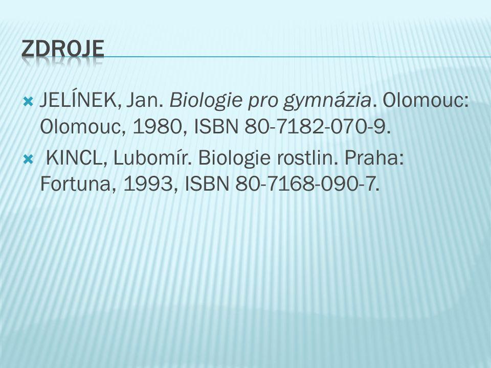  JELÍNEK, Jan. Biologie pro gymnázia. Olomouc: Olomouc, 1980, ISBN 80-7182-070-9.  KINCL, Lubomír. Biologie rostlin. Praha: Fortuna, 1993, ISBN 80-7