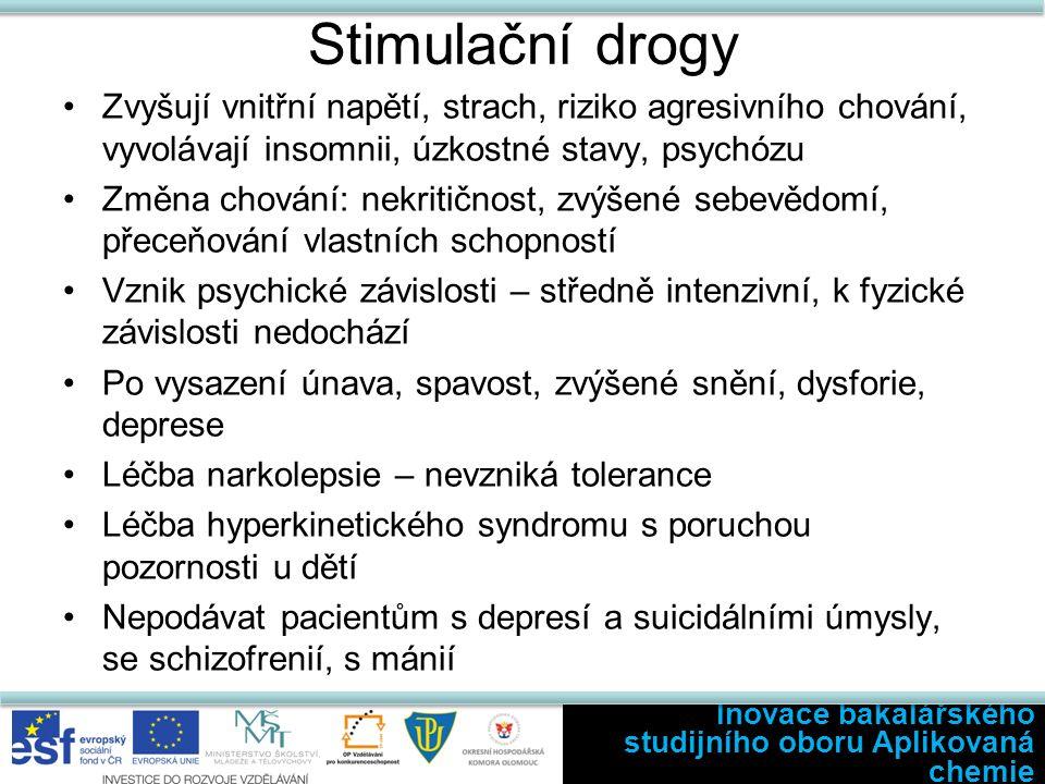 Stimulační drogy Zvyšují vnitřní napětí, strach, riziko agresivního chování, vyvolávají insomnii, úzkostné stavy, psychózu Změna chování: nekritičnost, zvýšené sebevědomí, přeceňování vlastních schopností Vznik psychické závislosti – středně intenzivní, k fyzické závislosti nedochází Po vysazení únava, spavost, zvýšené snění, dysforie, deprese Léčba narkolepsie – nevzniká tolerance Léčba hyperkinetického syndromu s poruchou pozornosti u dětí Nepodávat pacientům s depresí a suicidálními úmysly, se schizofrenií, s mánií Inovace bakalářského studijního oboru Aplikovaná chemie