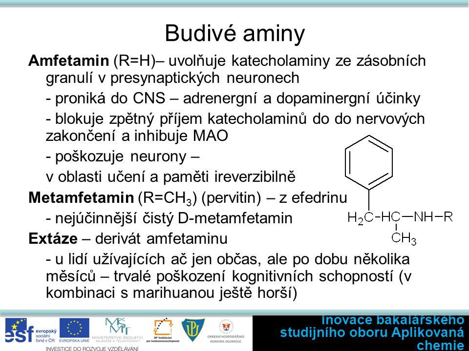 Budivé aminy Amfetamin (R=H)– uvolňuje katecholaminy ze zásobních granulí v presynaptických neuronech - proniká do CNS – adrenergní a dopaminergní účinky - blokuje zpětný příjem katecholaminů do do nervových zakončení a inhibuje MAO - poškozuje neurony – v oblasti učení a paměti ireverzibilně Metamfetamin (R=CH 3 ) (pervitin) – z efedrinu - nejúčinnější čistý D-metamfetamin Extáze – derivát amfetaminu - u lidí užívajících ač jen občas, ale po dobu několika měsíců – trvalé poškození kognitivních schopností (v kombinaci s marihuanou ještě horší) Inovace bakalářského studijního oboru Aplikovaná chemie