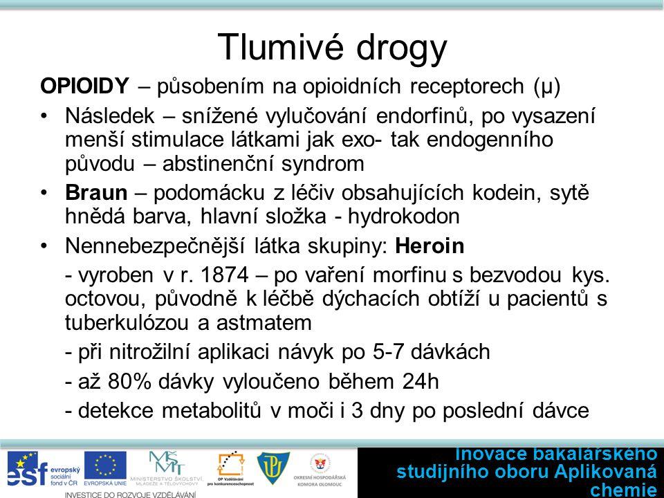 Tlumivé drogy OPIOIDY – působením na opioidních receptorech (µ) Následek – snížené vylučování endorfinů, po vysazení menší stimulace látkami jak exo- tak endogenního původu – abstinenční syndrom Braun – podomácku z léčiv obsahujících kodein, sytě hnědá barva, hlavní složka - hydrokodon Nennebezpečnější látka skupiny: Heroin - vyroben v r.