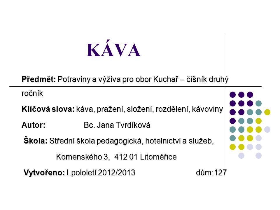 KÁVA Předmět: Potraviny a výživa pro obor Kuchař – číšník druhý ročník Klíčová slova: káva, pražení, složení, rozdělení, kávoviny Bc.