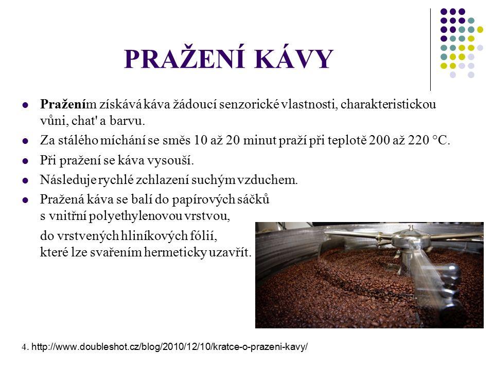 PRAŽENÍ KÁVY Pražením získává káva žádoucí senzorické vlastnosti, charakteristickou vůni, chat a barvu.