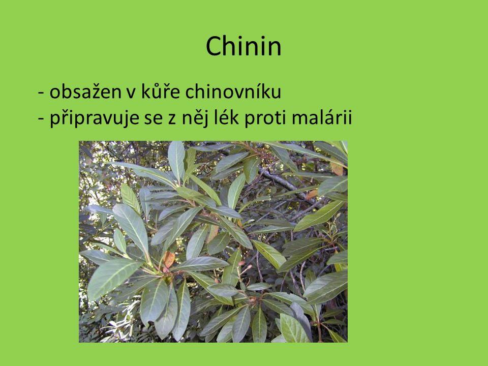 Chinin - obsažen v kůře chinovníku - připravuje se z něj lék proti malárii