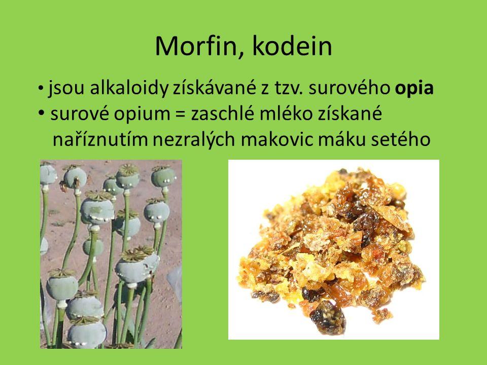 """Morfin (obchodní název morfium) - v lékařství je používán k tlumení bolestí při nádorových onemocněních a těžkých poraněních - na morfin vzniká těžký návyk = morfinismus Kodein - používá se k tlumení kašle a je obsažen v některých analgetikách - upravený kodein na účinnější derivát """"braun je zneužíván jako droga"""