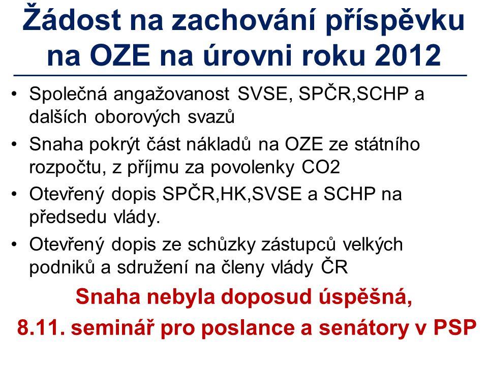 Žádost na zachování příspěvku na OZE na úrovni roku 2012 Společná angažovanost SVSE, SPČR,SCHP a dalších oborových svazů Snaha pokrýt část nákladů na