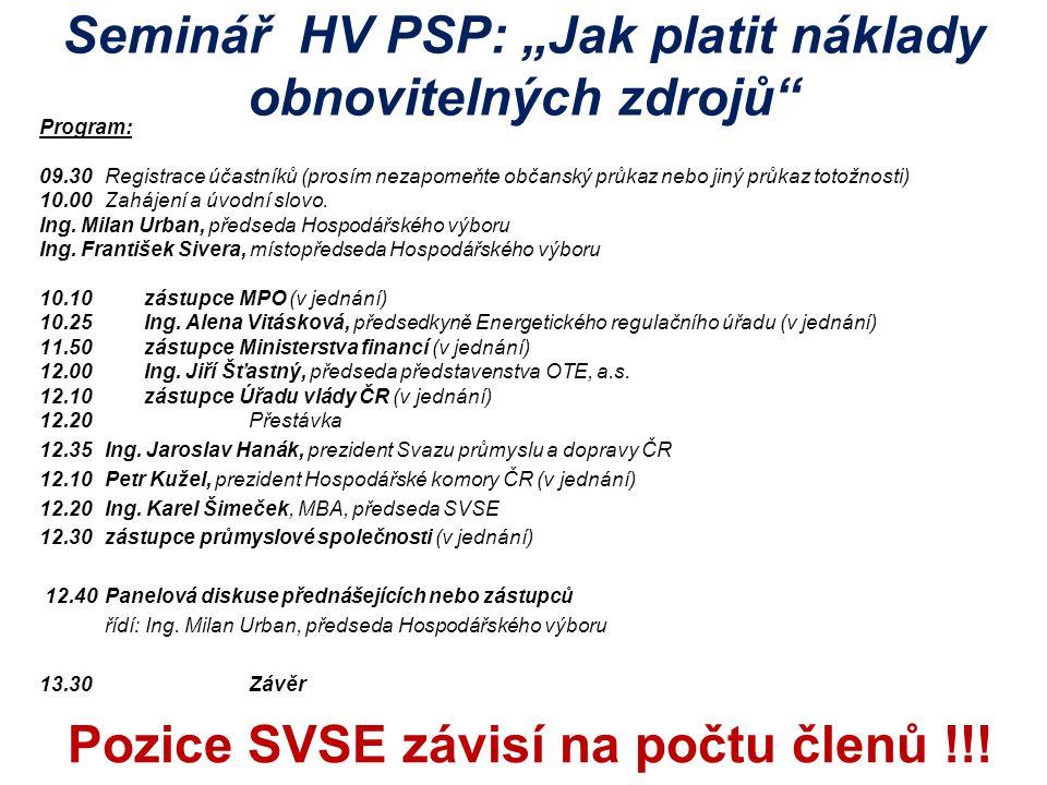 """Seminář HV PSP: """"Jak platit náklady obnovitelných zdrojů"""" Program: 09.30Registrace účastníků (prosím nezapomeňte občanský průkaz nebo jiný průkaz toto"""