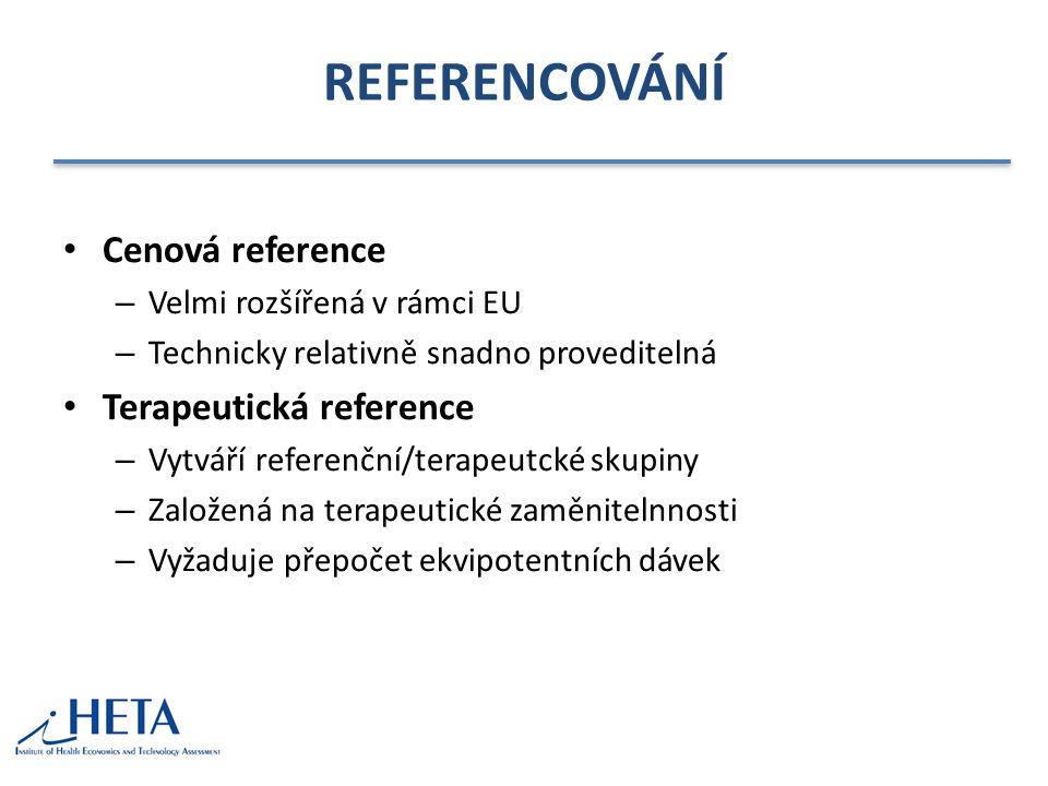 REFERENCOVÁNÍ Cenová reference – Velmi rozšířená v rámci EU – Technicky relativně snadno proveditelná Terapeutická reference – Vytváří referenční/tera