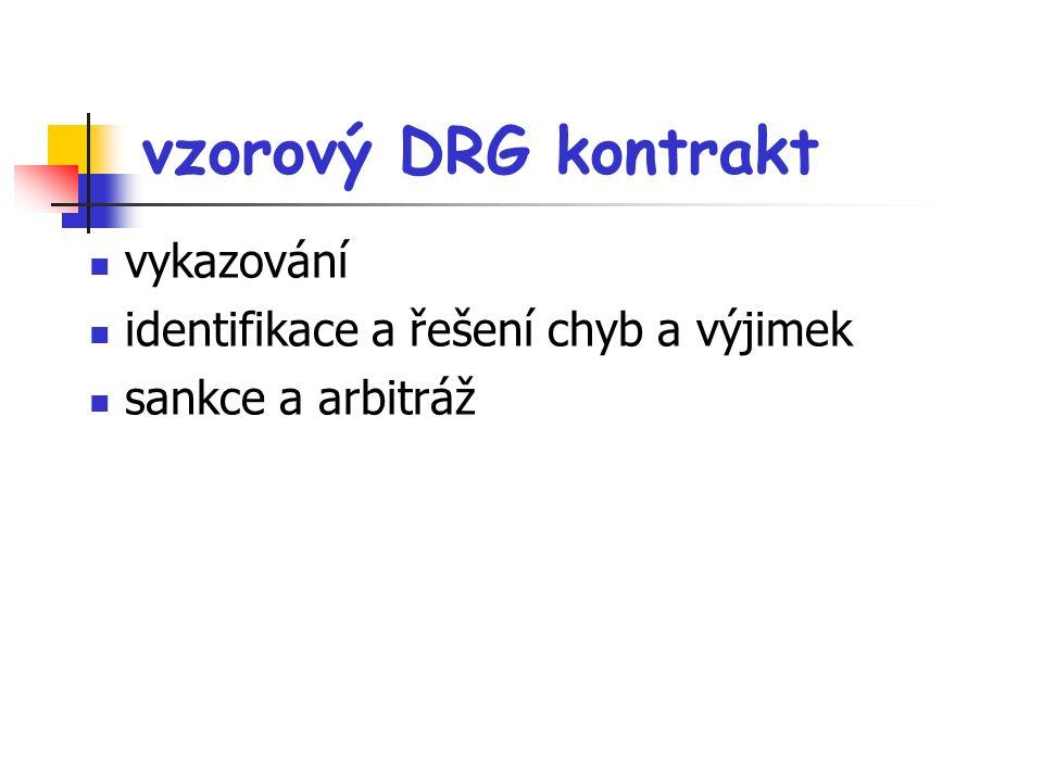 vzorový DRG kontrakt vykazování identifikace a řešení chyb a výjimek sankce a arbitráž