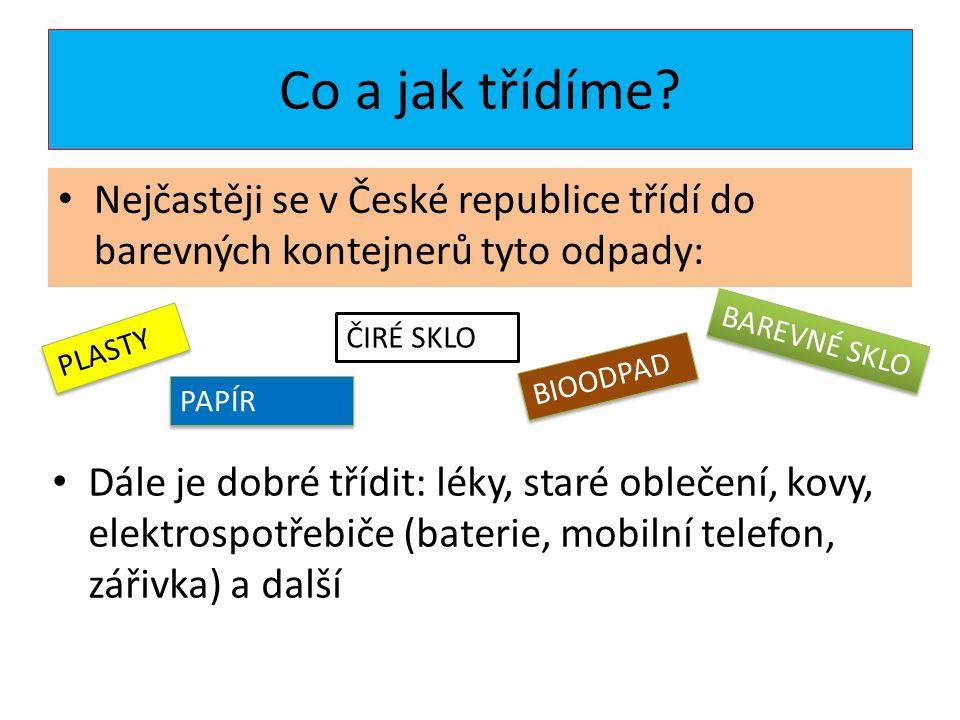 Co a jak třídíme? Nejčastěji se v České republice třídí do barevných kontejnerů tyto odpady: PLASTY PAPÍR ČIRÉ SKLO BIOODPAD BAREVNÉ SKLO Dále je dobr