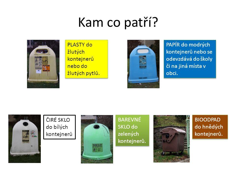 Kam co patří? PLASTY do žlutých kontejnerů nebo do žlutých pytlů. PAPÍR do modrých kontejnerů nebo se odevzdává do školy či na jiná místa v obci. ČIRÉ