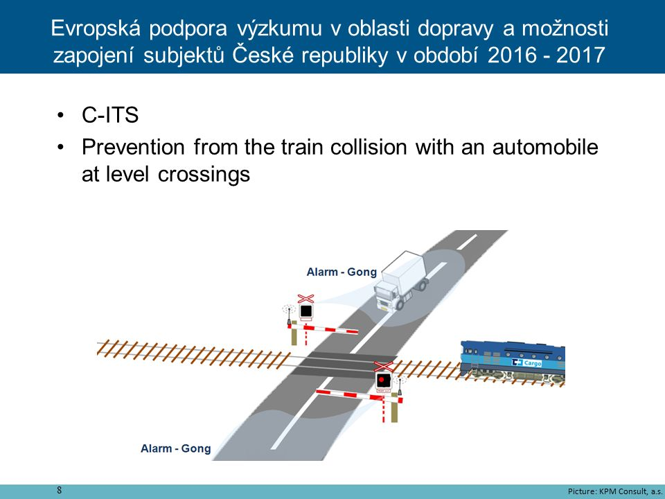 C-ITS Prevention from the train collision with an automobile at level crossings 8 Picture: KPM Consult, a.s. Evropská podpora výzkumu v oblasti doprav