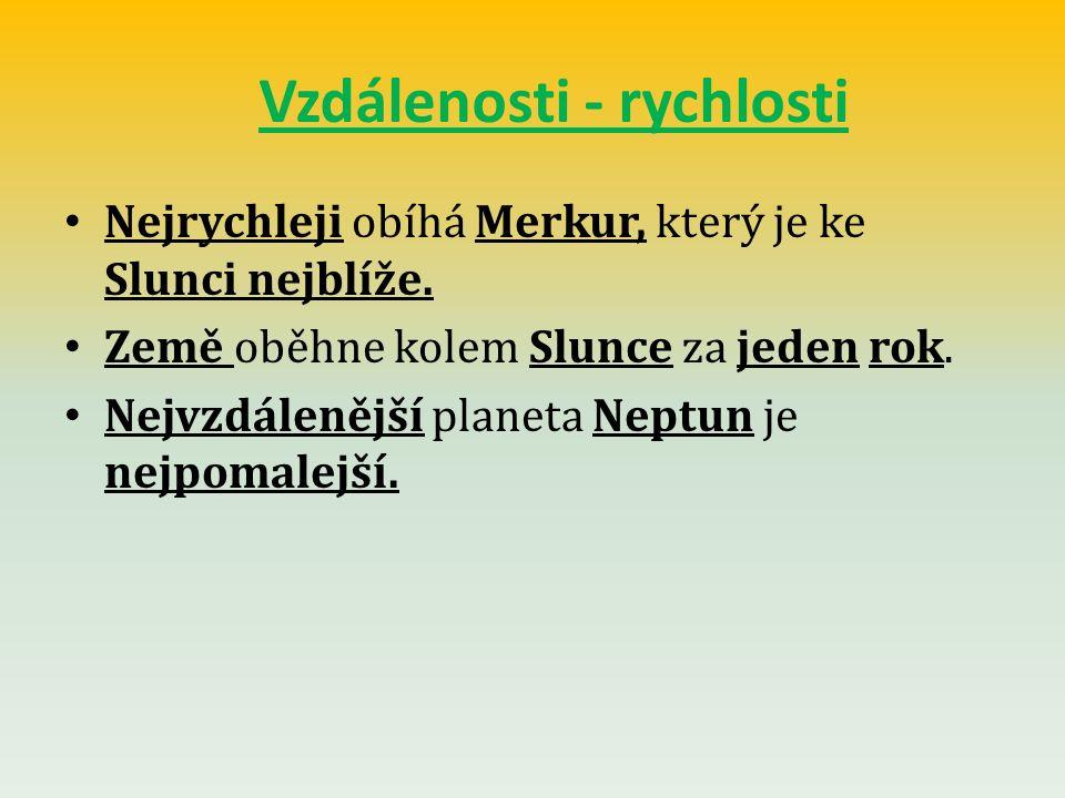Vzdálenosti - rychlosti Nejrychleji obíhá Merkur, který je ke Slunci nejblíže.