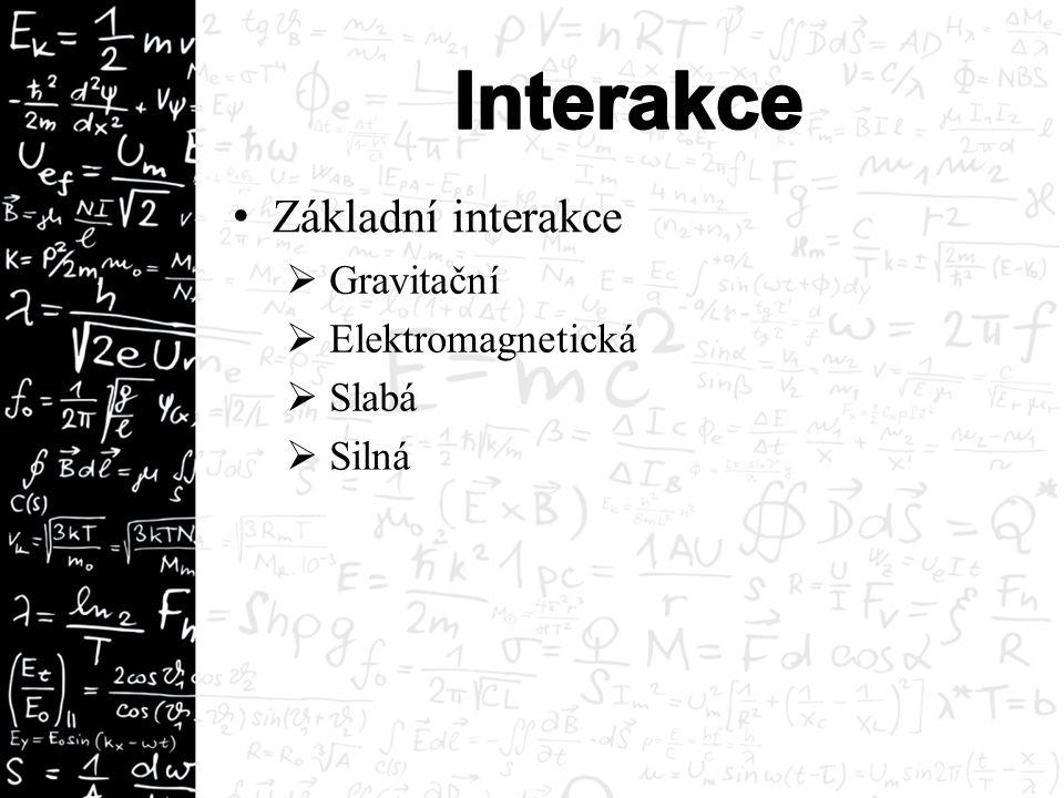 Základní interakce  Gravitační  Elektromagnetická  Slabá  Silná