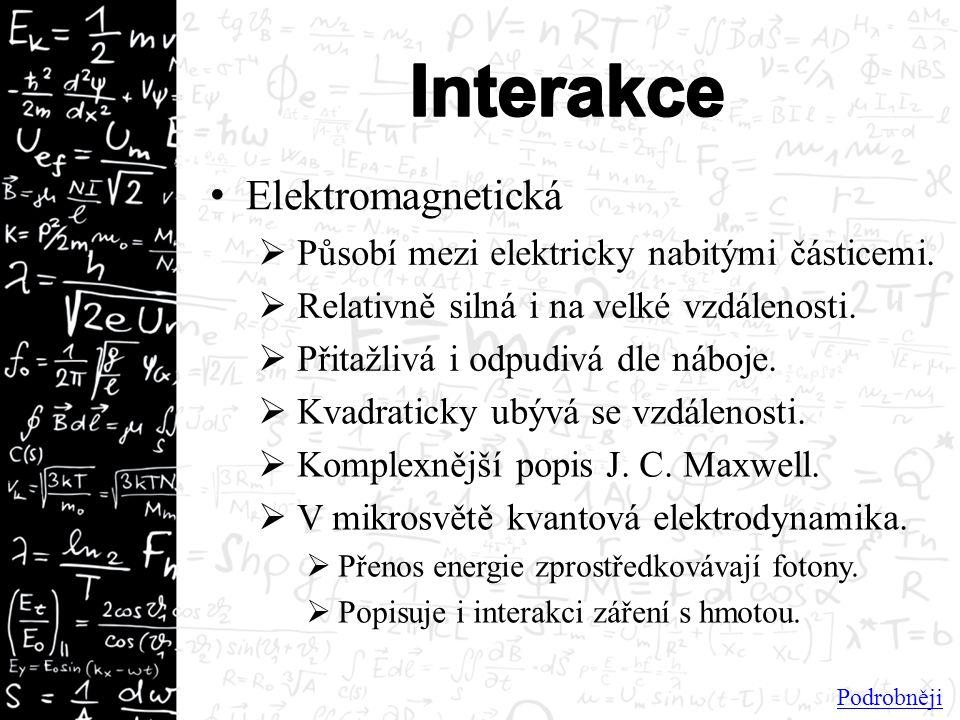Elektromagnetická  Působí mezi elektricky nabitými částicemi.