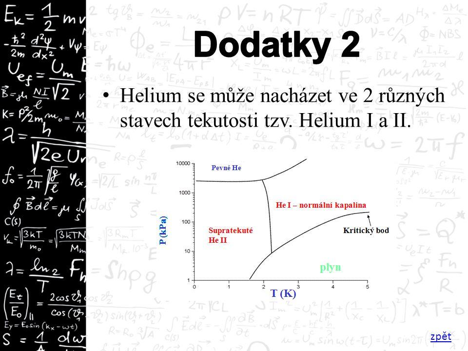Helium se může nacházet ve 2 různých stavech tekutosti tzv. Helium I a II. zpět