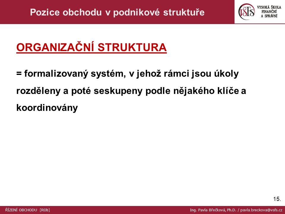 15. Pozice obchodu v podnikové struktuře ORGANIZAČNÍ STRUKTURA = formalizovaný systém, v jehož rámci jsou úkoly rozděleny a poté seskupeny podle nějak