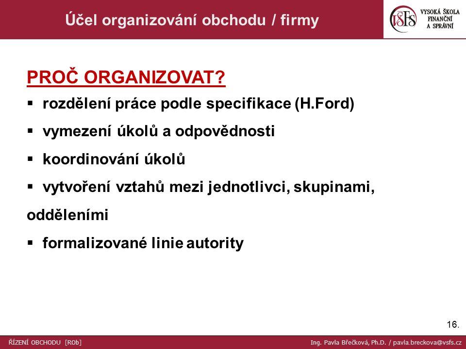 16. Účel organizování obchodu / firmy PROČ ORGANIZOVAT.