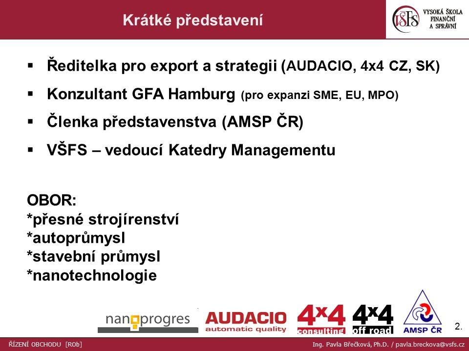 2.2. Krátké představení  Ředitelka pro export a strategii ( AUDACIO, 4x4 CZ, SK)  Konzultant GFA Hamburg (pro expanzi SME, EU, MPO)  Členka předsta