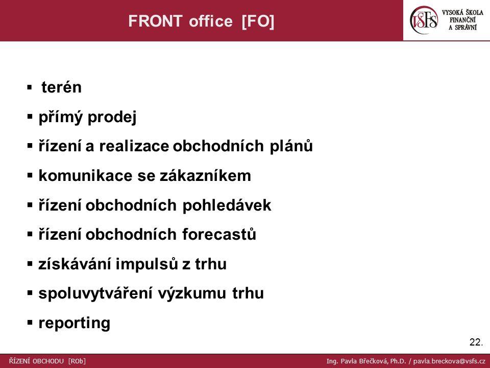 22. FRONT office [FO]  terén  přímý prodej  řízení a realizace obchodních plánů  komunikace se zákazníkem  řízení obchodních pohledávek  řízení