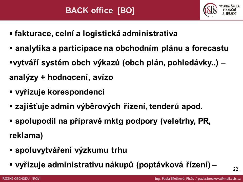 23. BACK office [BO]  fakturace, celní a logistická administrativa  analytika a participace na obchodním plánu a forecastu  vytváří systém obch výk