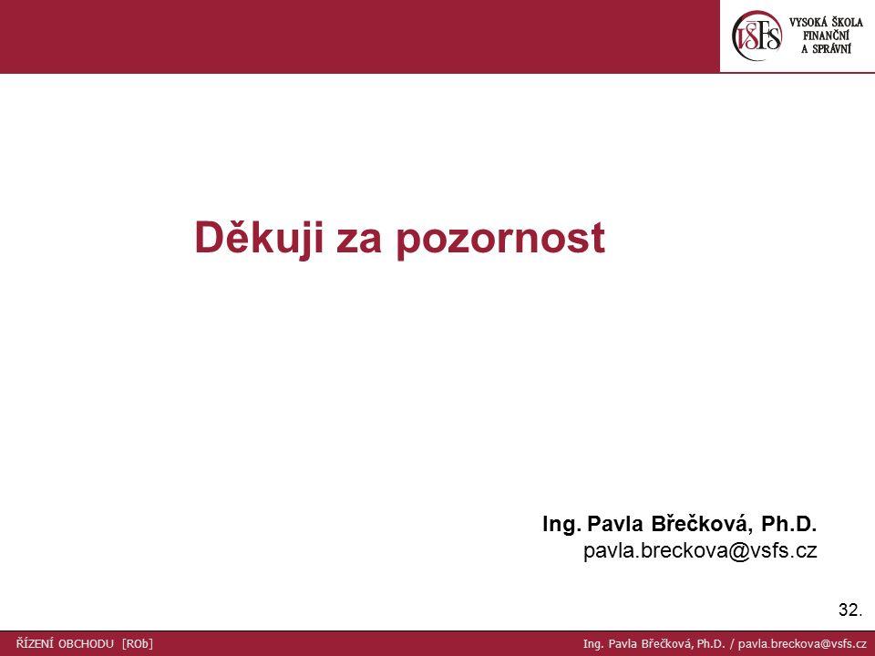 32. Děkuji za pozornost Ing. Pavla Břečková, Ph.D.